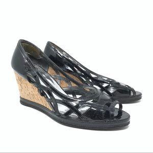 Stuart Weitzman Laser Cut Wedge Sandals Cork Black